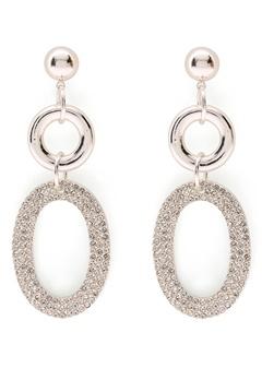 SNÖ of Sweden Doreen Pendant Earring Silver/Clear Bubbleroom.fi