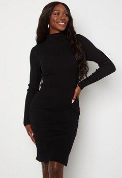 VILA Solto Knit Button L/S Dress Black Bubbleroom.fi