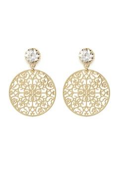 BY JOLIMA Spinn Crystal Earring Crystal Gold Bubbleroom.fi