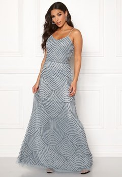AngelEye Strappy Sequin Maxi Dress Heather Blue Bubbleroom.fi