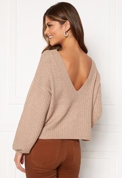 Pieces Suna LS Open Back Knit Natural Bubbleroom.fi