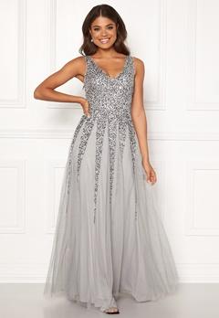 Goddiva Sunray Sequin Maxi Dress Light Grey Bubbleroom.fi