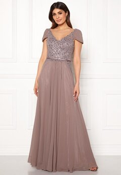 SUSANNA RIVIERI Short Sleeve Prom Dress Taupe Bubbleroom.fi