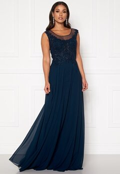 SUSANNA RIVIERI Dream Chiffon Dress Navy Bubbleroom.fi