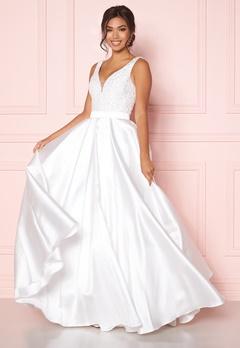 SUSANNA RIVIERI Embellished Satin Dress Ivory Bubbleroom.fi