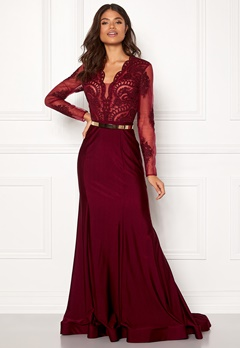 SUSANNA RIVIERI Fishtail Longsleeve Dress Burgundy Bubbleroom.fi