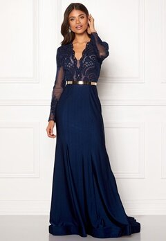 SUSANNA RIVIERI Fishtail Longsleeve Dress Navy Bubbleroom.fi