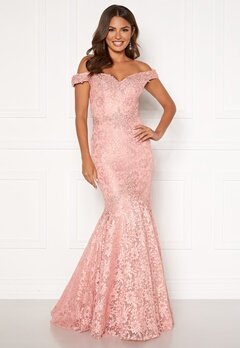 SUSANNA RIVIERI Mermaid Lace Dress Blush Bubbleroom.fi