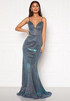 SUSANNA RIVIERI Sparkling Fishtail Dress Royal/Silver Bubbleroom.fi