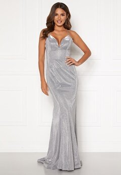 SUSANNA RIVIERI Sparkling Fishtail Dress Silver Bubbleroom.fi