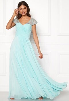 SUSANNA RIVIERI Sweetheart Chiffon Dress Ice Blue Bubbleroom.fi