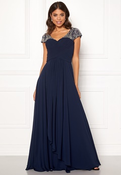 SUSANNA RIVIERI Sweetheart Chiffon Dress Navy Bubbleroom.fi