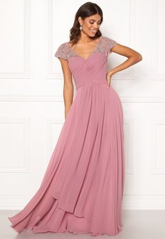 SUSANNA RIVIERI Sweetheart Chiffon Dress Rose Bubbleroom.fi