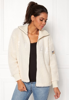 Svea Kathryn Pile Zip Sweater Antique White 023 Bubbleroom.fi