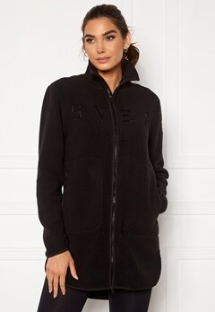 Svea W. Long Pile Zip Sweat 900 Black Bubbleroom.fi