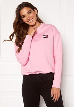 TOMMY JEANS Badge Crew Sweatshirt Toj Romantic Pink Bubbleroom.fi
