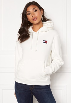 TOMMY JEANS Badge Polar Flecce Hoodie YAP Snow White Bubbleroom.fi