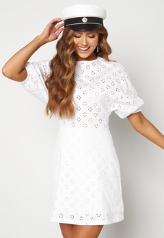 TOMMY JEANS Broderie Anglaise Dress YBR White Bubbleroom.fi