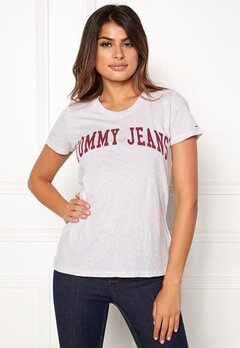 TOMMY JEANS Clean Logo Tee Pale Grey Heather Bubbleroom.fi