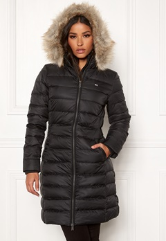 TOMMY JEANS Essential Hooded Down Coat BBU Black Bubbleroom.fi