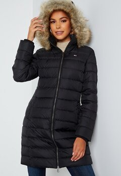 TOMMY JEANS Essential Hooded Down Coat BDS Black bubbleroom.fi