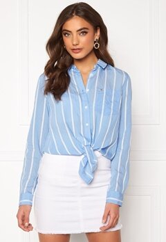TOMMY JEANS Front Knot Shirt 0FO White/Moderate B Bubbleroom.fi