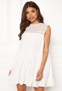 TOMMY JEANS Summer Sleeveless Lace Dress 100 Classic White Bubbleroom.fi