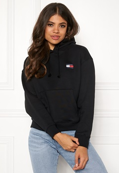 TOMMY JEANS Tommy Badge Hoodie BBU Tommy Black Bubbleroom.fi