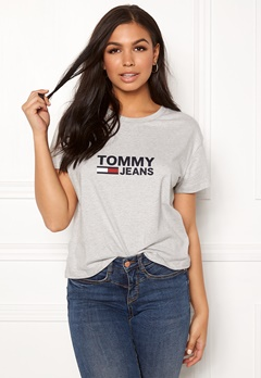 TOMMY JEANS Tommy Flag Tee 000 Light Grey Bubbleroom.fi