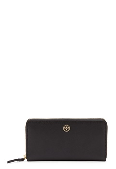TORY BURCH Robinson Zip Wallet 001 Black Bubbleroom.fi
