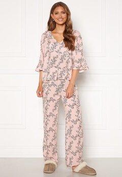 Trendyol Flower Printed Pyjama Set Pudra/Powder Pink bubbleroom.fi
