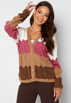 Trendyol V-Neck Stripe Knitted Cardigan Camel bubbleroom.fi