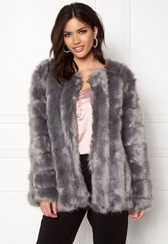 Urban Mist Plush Faux Fur Coat Grey Bubbleroom.fi