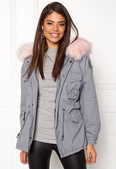 Urban Mist Plush Faux Fur Parka Grey/Pink Bubbleroom.fi