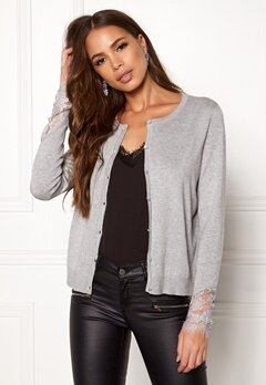 VERO MODA Ado Glory O-Neck Cardigan Light Grey Melange Bubbleroom.fi
