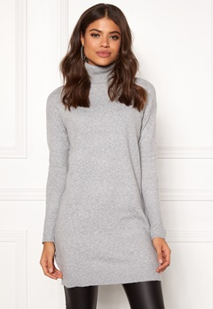 VERO MODA Brilliant LS Rollneck Dress Light Grey Melange Bubbleroom.fi