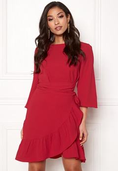 VERO MODA Cita 3/4 Bell Wrap Dress Chinese Red Bubbleroom.fi