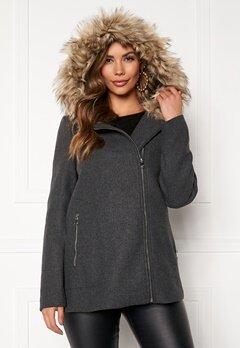 VERO MODA Collar York Wool Jacket Dark Grey Melange Bubbleroom.fi