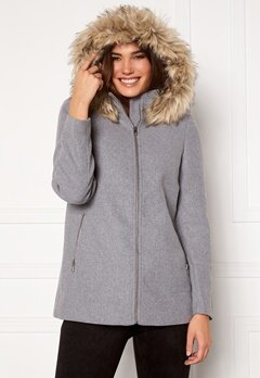VERO MODA Collar York Wool Jacket Light Grey Melange Bubbleroom.fi