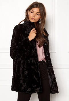 VERO MODA Curl Faux Fur Jacket Black Bubbleroom.fi