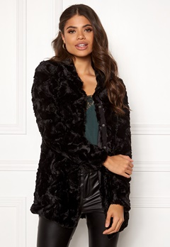 VERO MODA Curl High Faux Fur Jacket Black Bubbleroom.fi