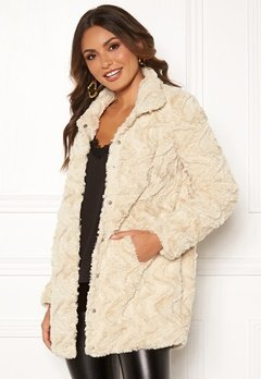 VERO MODA Curl High Faux Fur Jacket Oatmeal Bubbleroom.fi