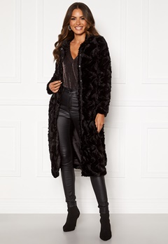 VERO MODA Curl Long Faux Fur Jacket Black Bubbleroom.fi