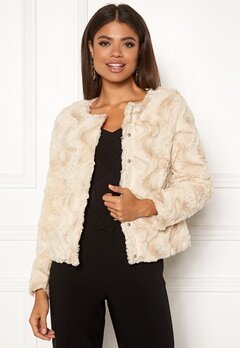 VERO MODA Curl Short Faux Jacket White Bubbleroom.fi