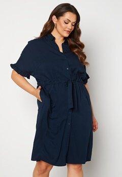Vero Moda Curve Fanni SS Midi Dress Navy Blazer Bubbleroom.fi