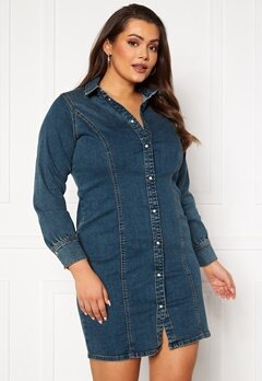 Vero Moda Curve Polena LS Denim Dress Medium blue denim Bubbleroom.fi