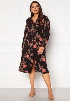 Vero Moda Curve Priebe LS Midi Dress Black AOP Flowers Bubbleroom.fi