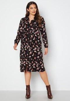 Vero Moda Curve Prina LS Midi Shirt Dress Black AOP bubbleroom.fi