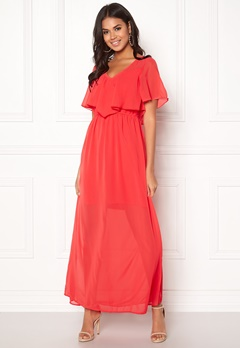 VERO MODA Dora SS Long Dress Poppy Red Bubbleroom.fi