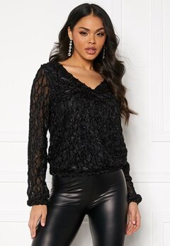 VERO MODA Doris V-Neck Top Black/Glitter Bubbleroom.fi